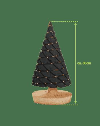 Groot antraciet kerstboompje met usb-verlichting