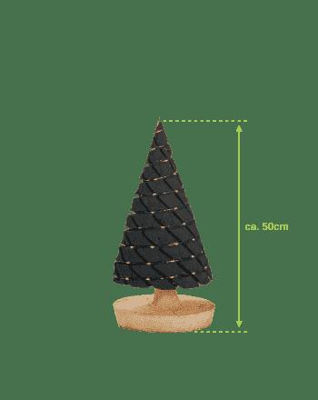 Middelgroot antraciet kerstboompje met batterijverlichting