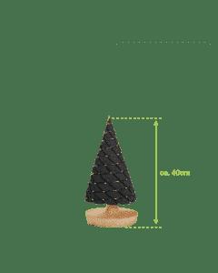 Klein antraciet kerstboompje met batterijverlichting