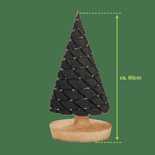 Groot antraciet kerstboompje met batterijverlichting